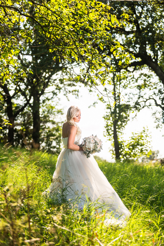 wedding bride photography in a beautiful countryside